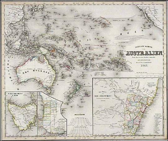 Antique old historic maps map australia new zealand pacific h07542australiameyerg 100003 bytes gumiabroncs Choice Image