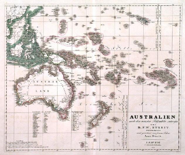 Australia South Pacific: Antique Old Historic Maps Map Australia New Zealand