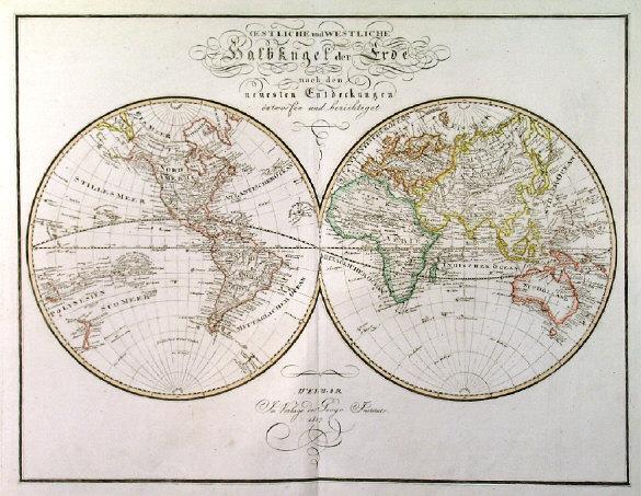 antique historic old World maps map Hemispheres Arctic Antarctic ...